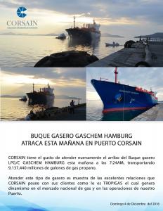 Gaschem Hamburg atraca en Puerto CORSAIN con mas de 9 millones de galones de  gas propano