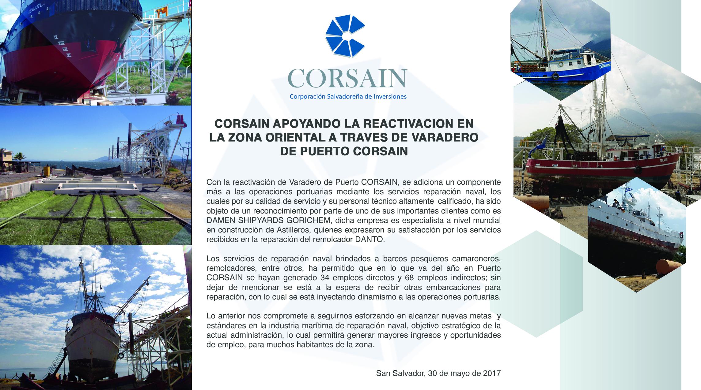 CORSAIN APOYANDO LA REACTIVACION EN LA ZONA ORIENTAL A TRAVES DE VARADERO DE PUERTO CORSAIN