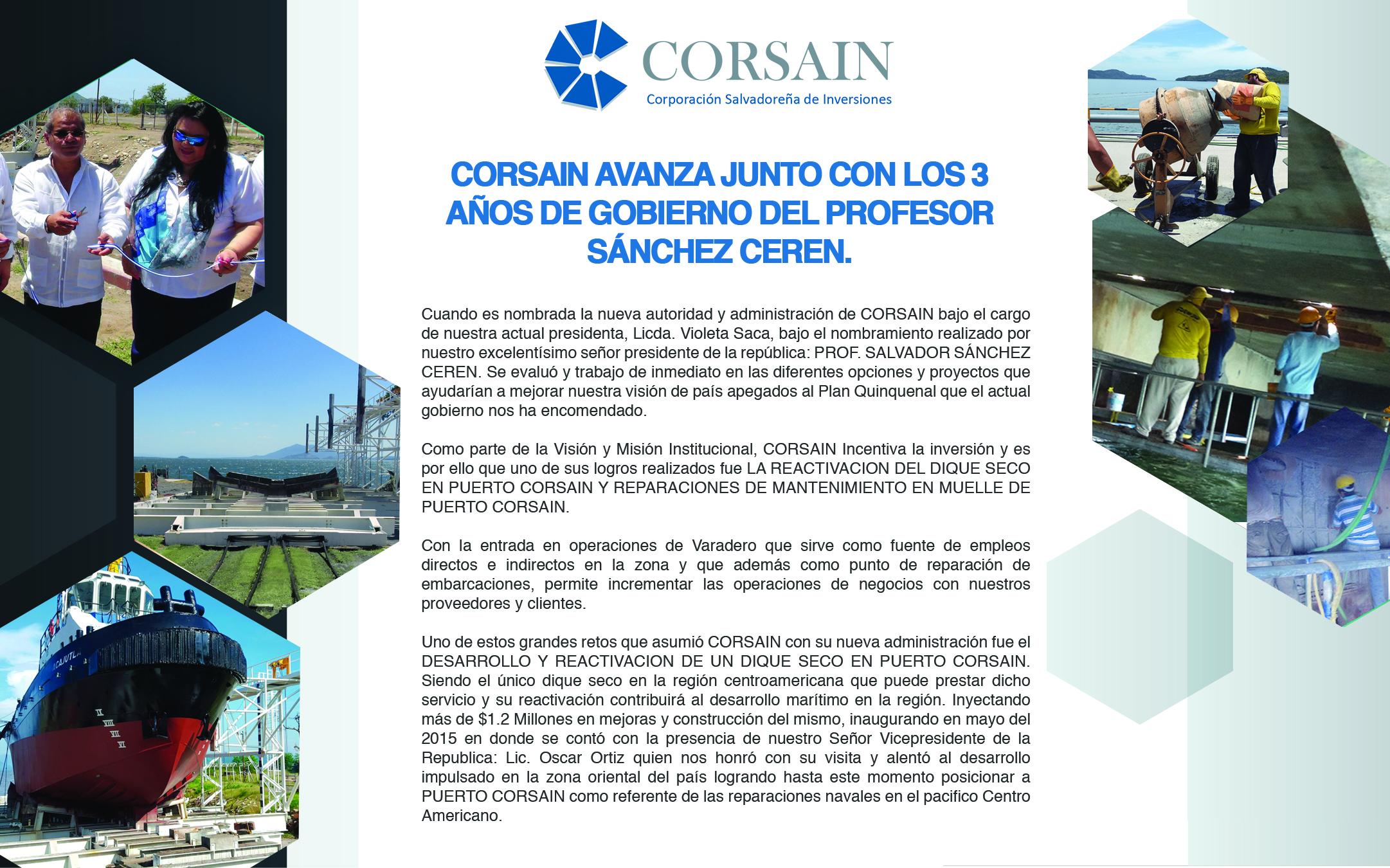 CORSAIN AVANZA JUNTO CON LOS 3 AÑOS DE GOBIERNO DEL PROFESOR SÁNCHEZ CEREN.